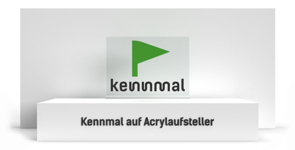 Individuelle 3D-Logos - Kennmal auf Acrylaufsteller (Bauart)