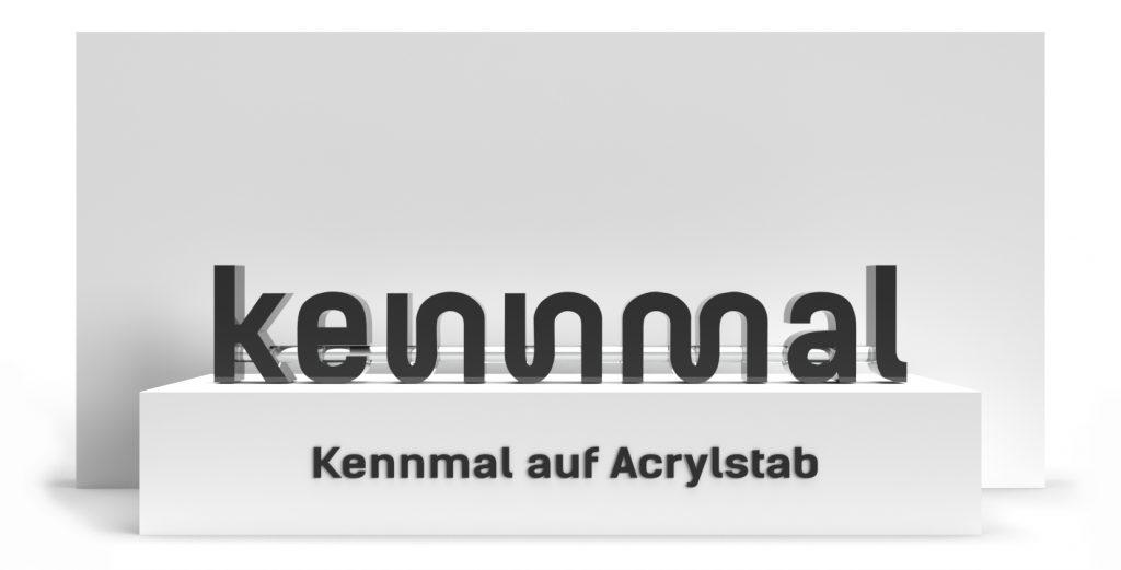 Individuelle 3D-Logos - Kennmal auf Acrylstab (Bauart)